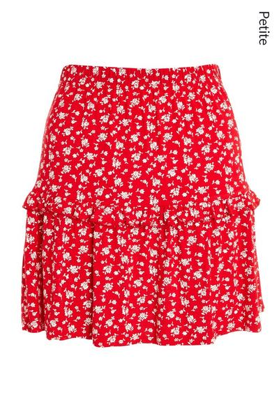 Petite Red Floral Frill Skirt